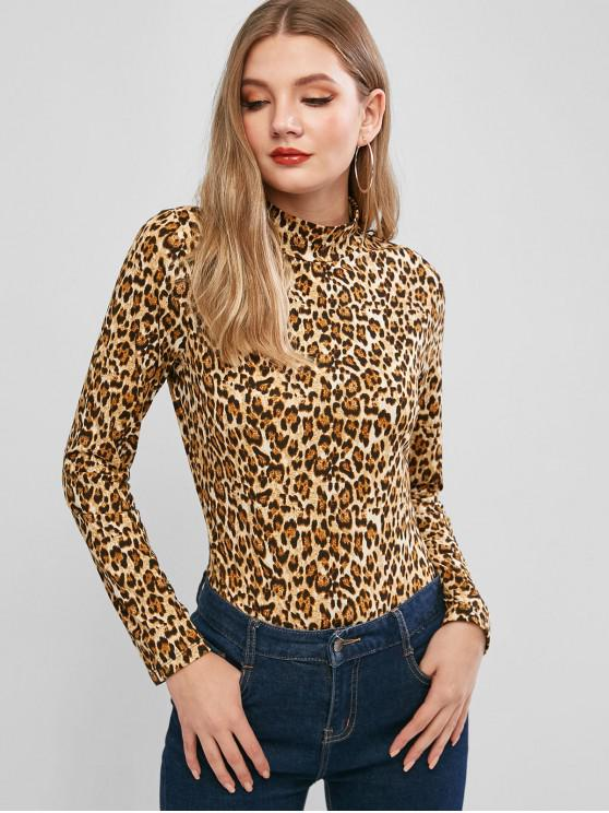 sale Leopard Snakeskin Long Sleeve Bodysuit - MULTI-B M