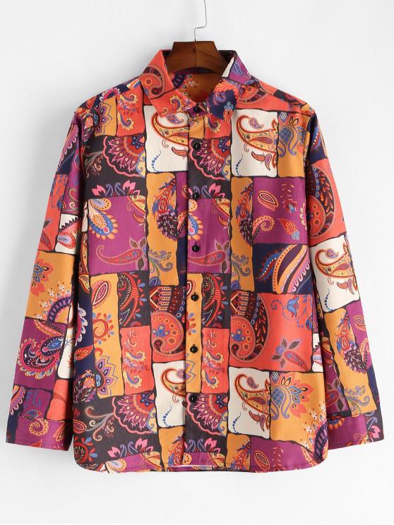 unique Paisley Floral Print Splicing Button Long Sleeve Shirt - MULTI M
