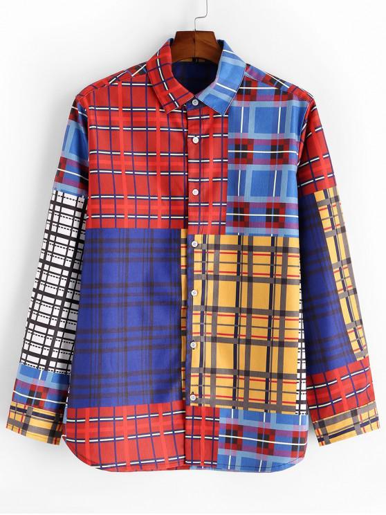 best Plaid Colorblock Spliced Button Up Shirt - MULTI 3XL