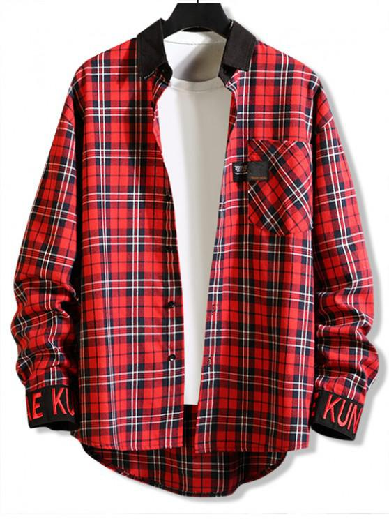 outfits Plaid Pattern Pocket Button Full Sleeves Shirt - RED M