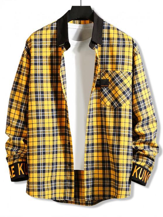 fancy Plaid Pattern Pocket Button Full Sleeves Shirt - BEE YELLOW 2XL