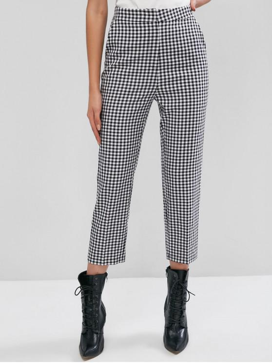 affordable ZAFUL Slant Pockets Plaid High Waisted Straight Pants - MULTI-A L