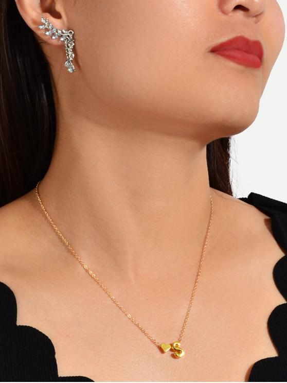 Letter Leaf Rhinestone Necklace Earrings Set - 銀