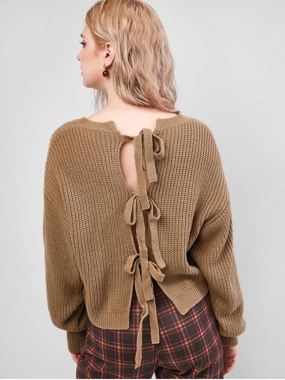 new ZAFUL Knot Back Drop Shoulder Textured Sweater - CAMEL BROWN L
