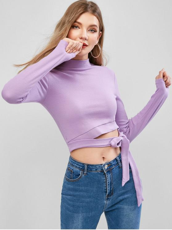fashion Mock Neck Ribbed Tie Waist Cut Out Tee - PURPLE L
