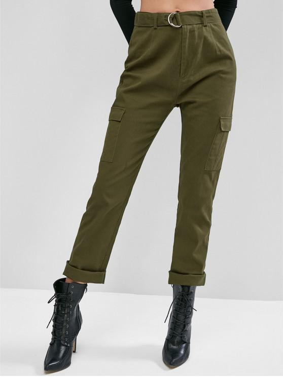womens ZAFUL Flap Pocket Belted Mid Rise Cargo Pants - ARMY GREEN L