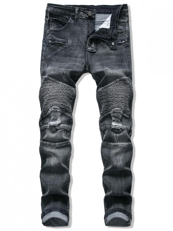 Pantalones Vaqueros Rasgados Mosaico - Negro 34