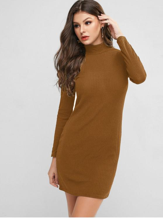 trendy High Neck Knitted Bodycon Dress - CINNAMON L