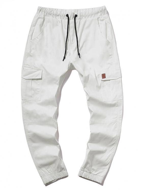 ZAFUL Pantalon Cargo en Couleur Unie avec Poche à Cordon - Blanc Lait M
