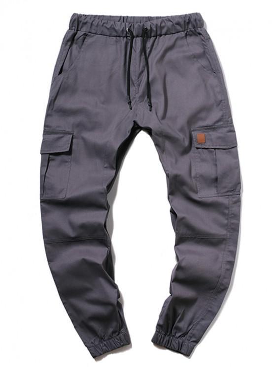 shops ZAFUL Solid Color Pocket Drawstring Cargo Pants - SLATE GRAY 2XL