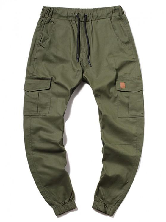 outfits ZAFUL Solid Color Pocket Drawstring Cargo Pants - ARMY GREEN L