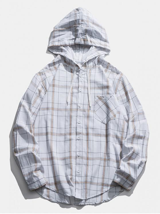 fashion Checked Pocket Button Up Hooded Shirt - WHITE XL