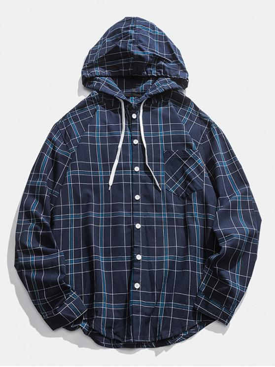 buy Checked Pocket Button Up Hooded Shirt - CADETBLUE XL