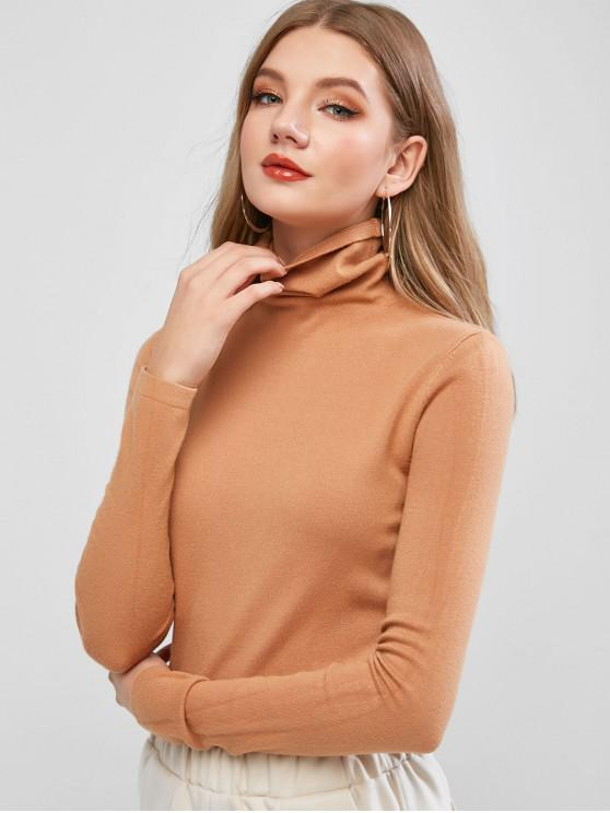 womens ZAFUL Turtleneck Plain Skinny Knit Sweater - CAMEL BROWN L
