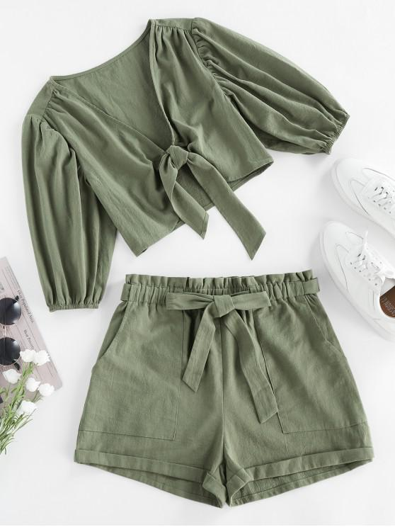 shop ZAFUL Tied Plunging Paperbag Waist Rolled Shorts Set - LIGHT GREEN M