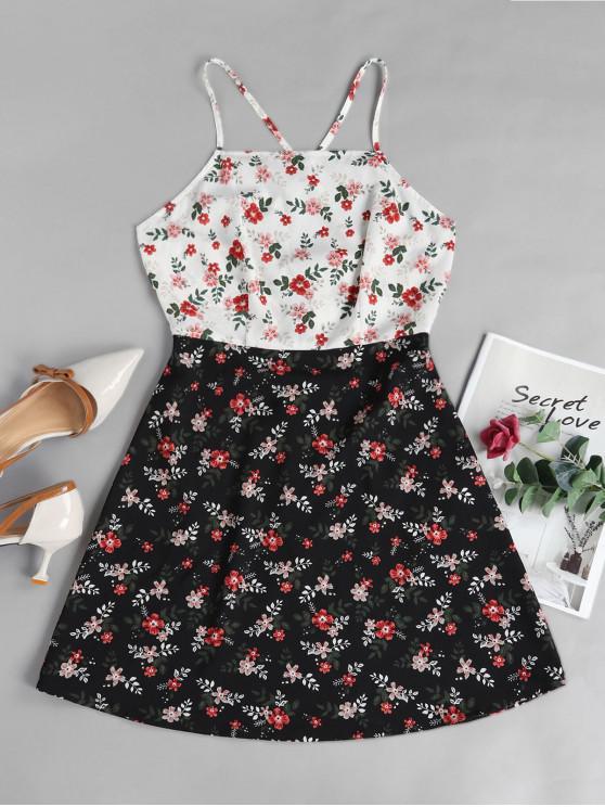 buy ZAFUL Floral Crisscross Sundress - MULTI-A XL