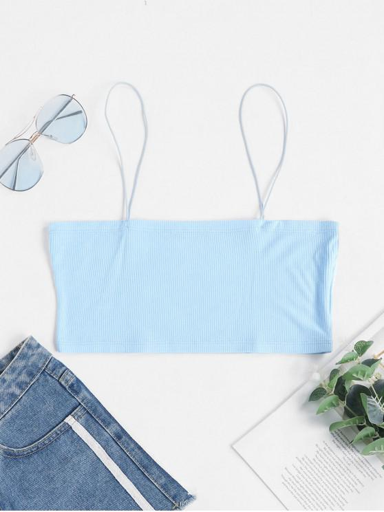 shop ZAFUL Ribbed Bungee Strap Camisole - SEA BLUE M