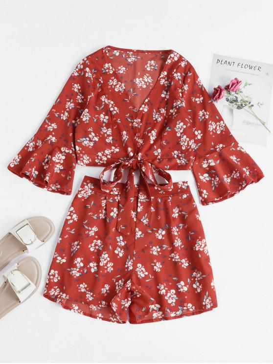 outfits Floral Flare Sleeve Wrap Two Piece Set - CHERRY RED S