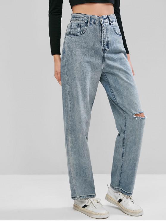 ladies Ripped Mom Jeans - DENIM BLUE L