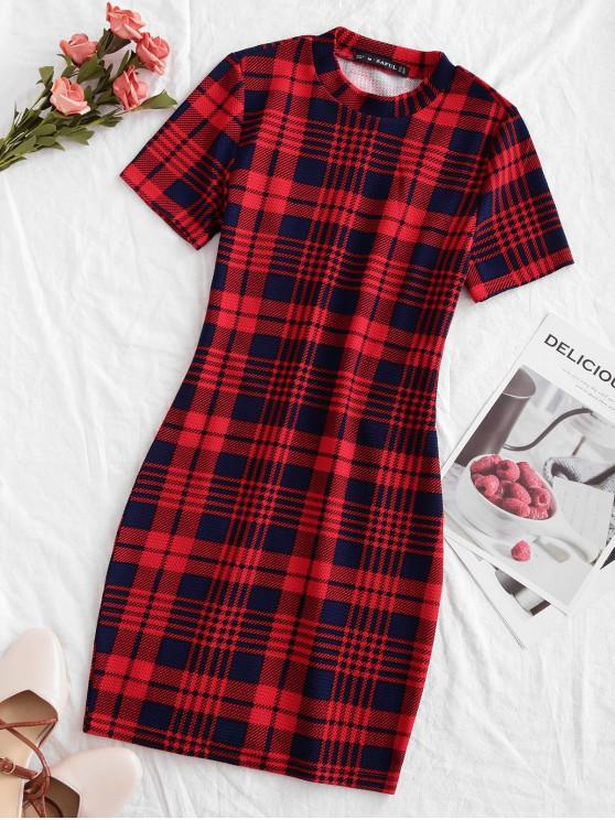 women's ZAFUL Houndstooth Plaid Mini Bodycon Dress - MULTI M