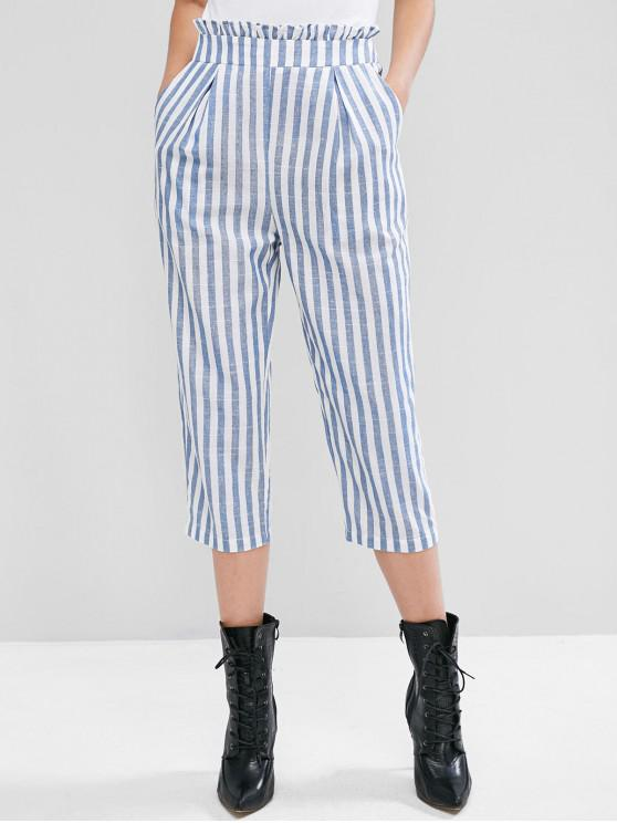 ZAFUL Ruffle Vita tasca a righe Crop Pants - Blu Mite XL