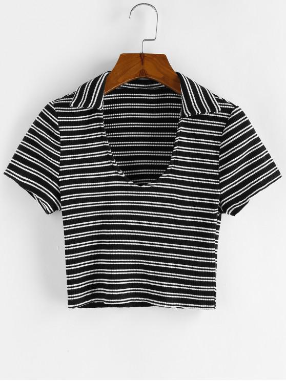 ZAFUL T-shirt às Riscas Cortada - Preto XL
