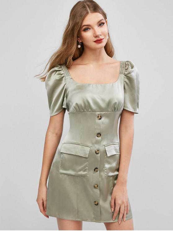 unique ZAFUL Mock Buttons Pockets Solid Dress - LIGHT GREEN M
