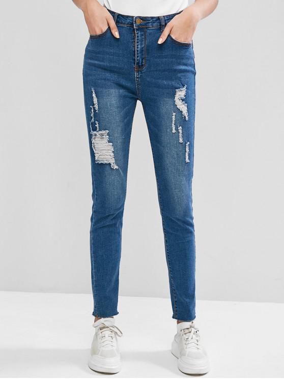 buy Ripped Raw Cut Pocket Slim Jeans - JEANS BLUE L