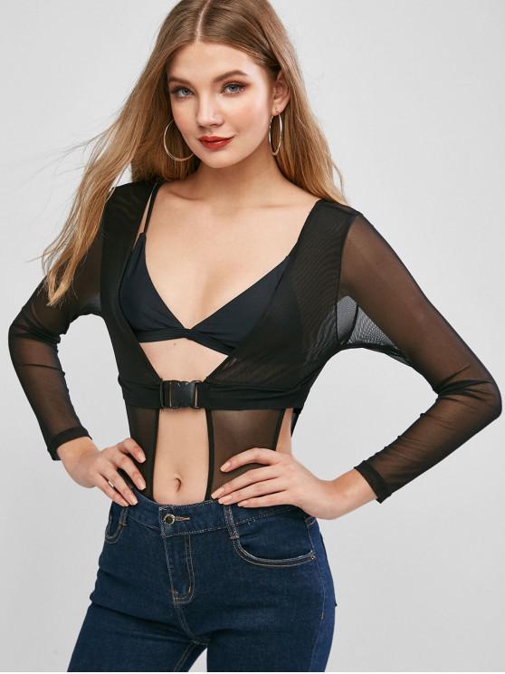 women ZAFUL Cut Out Buckled Mesh Bodysuit - BLACK S