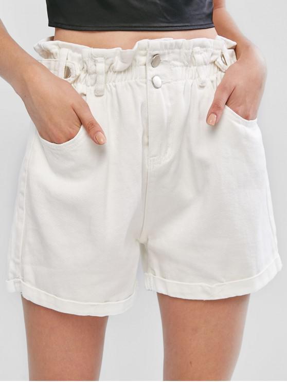 unique Cuffed Hem Pockets Denim Paperbag Shorts - WHITE S