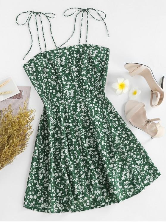 trendy ZAFUL Ditsy Print Tie Shoulder Sleeveless Dress - SEA TURTLE GREEN S