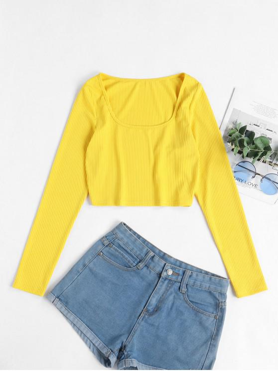 outfits ZAFUL Scoop Ribbed Crop Top - YELLOW M