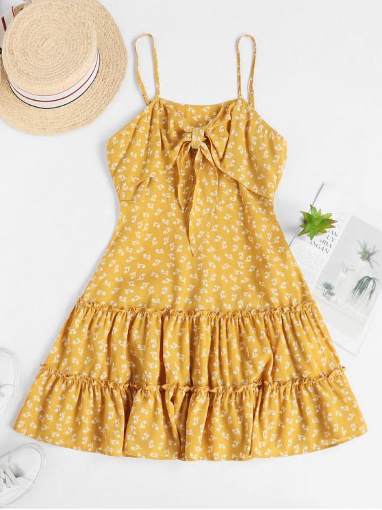 shop ZAFUL Ditsy Print Knot Frilled Sundress - YELLOW M