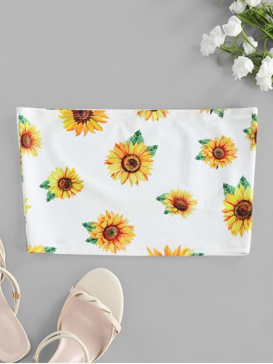 new ZAFUL  Strapless Sunflower Print Crop Top - WHITE S
