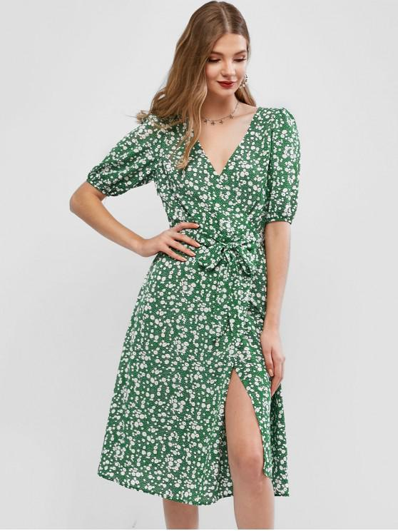 affordable ZAFUL Ditsy Floral Surplice A Line Belted Dress - MULTI S