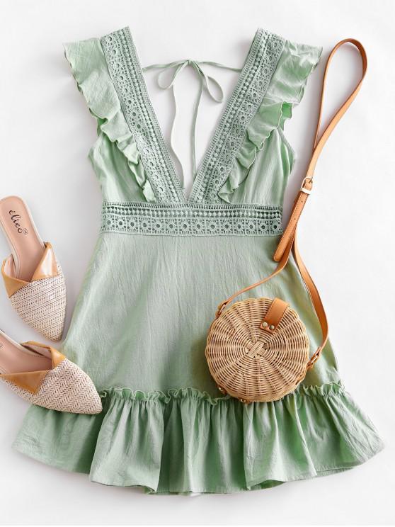 buy ZAFUL Plunge Crochet Panel Ruffle Dress - PISTACHIO GREEN M