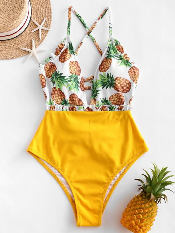 chic ZAFUL Lace-up Frilled Pineapple One-piece Swimsuit - MUSTARD S