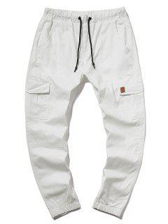 ZAFUL Solid Color Pocket Drawstring Cargo Pants - Milk White 2xl