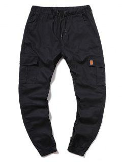 ZAFUL Solid Color Pocket Drawstring Cargo Pants - Black Xl