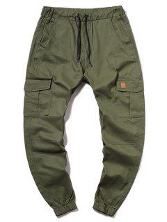 ZAFUL Solid Color Pocket Drawstring Cargo Pants - Army Green L