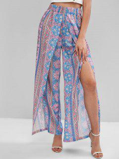 ZAFUL Bohemian Floral High Waisted Tulip Pants - Multi-a M