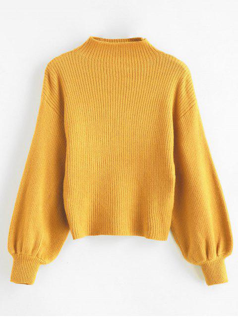 womens Pullover Blouson Sleeve Ribbed Funnel Sweater - TIGER ORANGE ONE SIZE Mobile