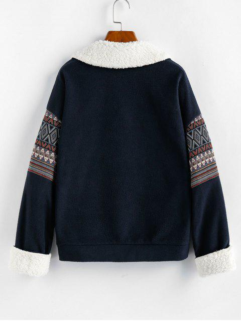 outfit ZAFUL Geo Drop Shoulder Faux Fur Insert Jacket - DARK SLATE BLUE XL Mobile