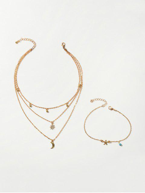 Strand Stern Mond Geschichtet Halskette Fußkettchen Set - Gold  Mobile
