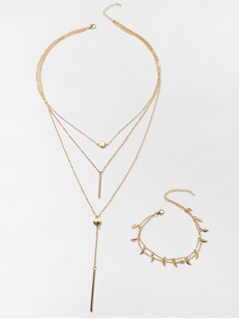 Bar Blatt Geschichteten Halskette Fußkettchen Set - Gold  Mobile