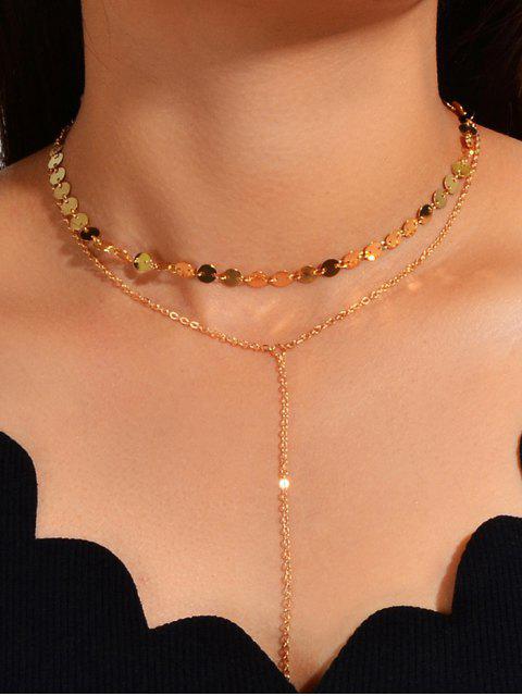 2pcs Geometrische Schichten Halskette Set - Gold  Mobile