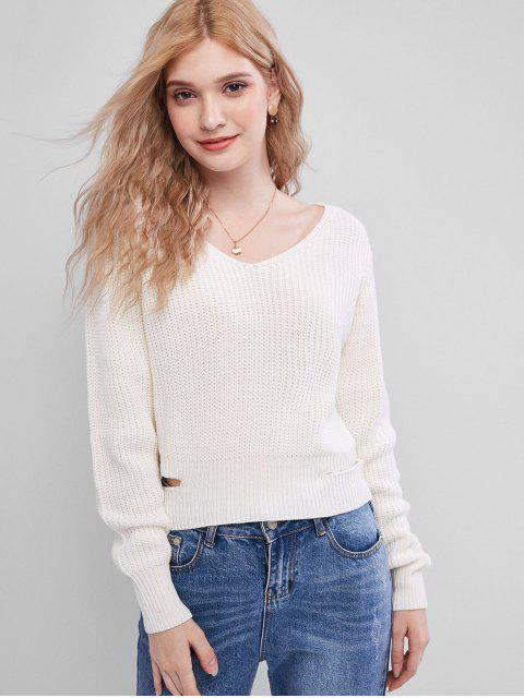 women's Cut Out Plunge Long Sleeve Sweater - WHITE L Mobile