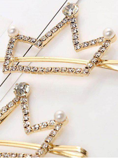 trendy 1 PC Faux Pearl Rhinestone Crown Hair Grip - GOLD  Mobile