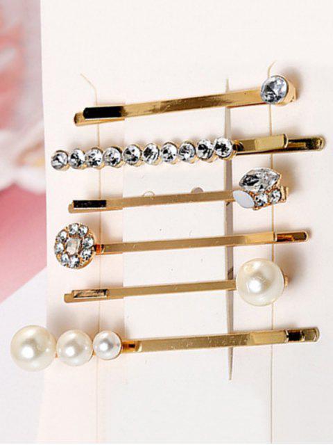6pcs Strass Künstliche Perlen Haarnadel Set - Gold  Mobile