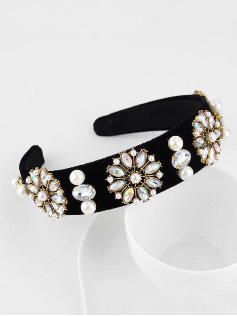 Bandeau de Cheveux Fleuri en Fausse Perle avec Strass - Noir  Mobile